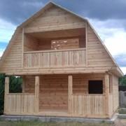 Сруб Дома из бруса  6 × 4 с террасой, с установкой фото