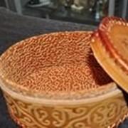 Сувенирная шкатулка из кожи ручной работы фото