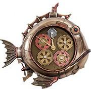 """Настенные часы в стиле Стимпанк """"Рыба"""" 31х29х6см. арт.WS-907 Veronese фото"""