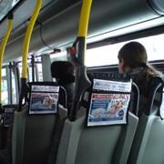 Размещение рекламы на подголовниках в маршрутных такси фото