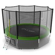 Батут с внешней сеткой и лестницей EVO JUMP External 12ft (Green) + Lower net. фото
