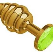 Золотистая спиралевидная анальная пробка с желтым кристаллом - 7 см. фото