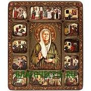 Олд Модерн Матрона Московская, святая блаженная, копия писанной иконы с клеймами (житием), ручной работы под старину Высота иконы 37 см фото