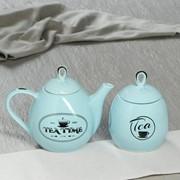 "Чайная пара ""Петелька"", цвет голубой, 2 предмета: чайник 0.8 л, сахарница 0.5 л фото"