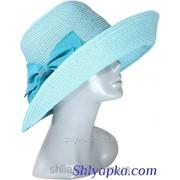 Шляпа мягкая с украшением в виде банта голубая 38/44-1 фото