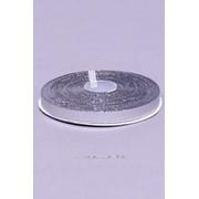 Лента парча 6 мм, серебро (рул 22 м) фото