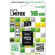 Карта памяти микро SDHC 16 Гб класс 10 - Mirex - с адаптером SD фото