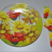 Набор для торта из 2 предметов (стекло) фото