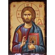 Рукописная икона Иисус Христос Вседержитель фото