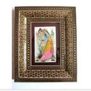 Персидские картины в инкрустированных золотистых рамках фото