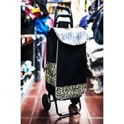Универсальная сумка-тележка на двух колесах 32х30х100см черная слеопардовыми вставками фото
