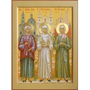 Икона трех блаженных Ксении Петербуржской, Валентины Минской, Матроны Московской. фото