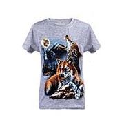 Модная футболка серого цвета с принтом волков 6 фото