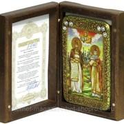 Настольная икона Петр и Февронья на мореном дубе фото