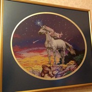 Картины вышитые 2 штуки девушка с лебедем и единорог фото