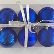 """Набор елочных шаров """"Шелк, бархат, люрекс"""", 6 шт, 8 см, синие, (MILAND) фото"""