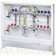 Сборный регулирующий узел для напольного и радиаторного отопления, 8 отводов на теплый пол + 3 отвода на радиатор, с сервоприводом, в коллекторном шкафу, Евроконус, артикул FK 3591 1340803 фото