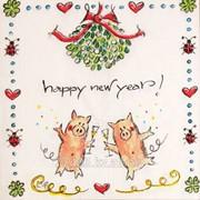 Салфетка для декупажа Новый год с хрюшками фото
