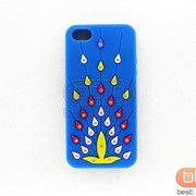 Накладка iPhone 5S (силикон со стразами жарптица) синий 73024d фото