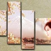 Мечты о Японии (модульная интерьерная объемная картина маслом на холсте на заказ) фото