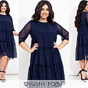 Воздушное шифоновое платье женское трапеция (4 цвета) ЕЕ/-8620/2 - Темно-синий фото