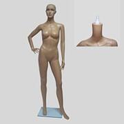 Манекен для одежды женский ростовой телесный пластиковый, стоячий, со съемной головой. 910 фото