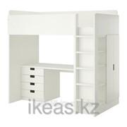 Кровать-чердак 4 ящика, 2 дверцы, белый СТУВА фото