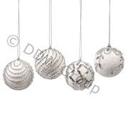 Декор Шар бел/серебр. со стразами фото