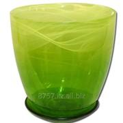 Горшок цветочный №2, диаметр 13 см, цвет желтый/зеленый фото