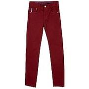 Эффектные брюки бордового цвета с прямой штаниной 26 фото