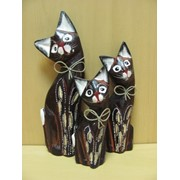 Набор 3х кошек 25,20,15см -резной узор, белые полосатые ушки, арт. 550526/4 фото