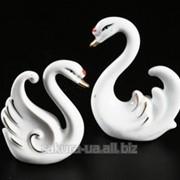 Фарфоровая фигурка / Два лебедя / Набор 2 шт / Стразы / 8 см и 7 см / Белые n08150 фото