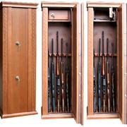 Элитный оружейный сейф ОШЭЛ с отделкой шпоном дуба фото