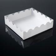 Коробочка для печенья, белая, 12 х 12 х 3 см фото