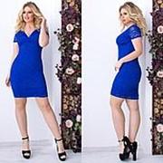 Платье женское гипюровое с глубоким декольте (4 цвета)- Электрик ТК/-1165 фото