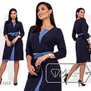 Двухцветное платье с пояском - Синий фото