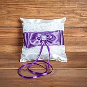Свадебная подушечка для колец с кружевом (арт. CR-213) фото