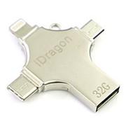 Флешка USB Flash Drive iDragon на 32 Gb 4 в 1 (lightning, type-c, micro USB) фото