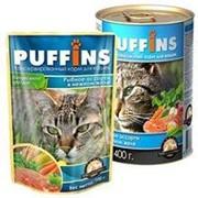 Puffins 400г конс. Влажный корм для взрослых кошек Рыбное ассорти (желе) фото