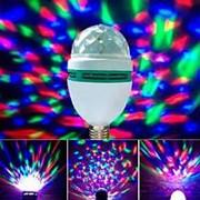 Вращающаяся разноцветная LED лампа Диско с переходником под розетку фото