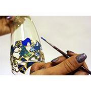 Витражная роспись стекла зеркал керамики фото