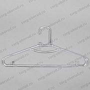 Вешалка плечики для одежды пластиковая с перекладиной и крючками, прозрачная. В-217 фото