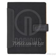 Бизнес-организатор с вставками из искусственной кожи, 185 * 235 мм, на кольцах, черный, бумага 80 г/ фото