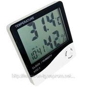Термометр гигрометр часы будильник измеритель влажности электронный фото
