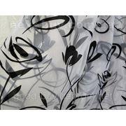 Тюль Чорно-белая узорная - органза 100216-ЛА -1 фото
