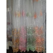 Тюль Разноцветная 00023 - органза с цветами -1 фото