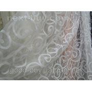 Тюль Белая узорная - органза 100217-ЛА -1 фото