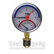 """Термоманометр 1/2"""" вертикальный (радиальный) 16 бар TiM фото"""