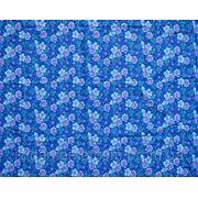 Ткань постельная Мелкая фиолетовая розочка на синем фото
