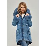 Парка женская зимняя джинсовая с натуральным мехом П-66 фото